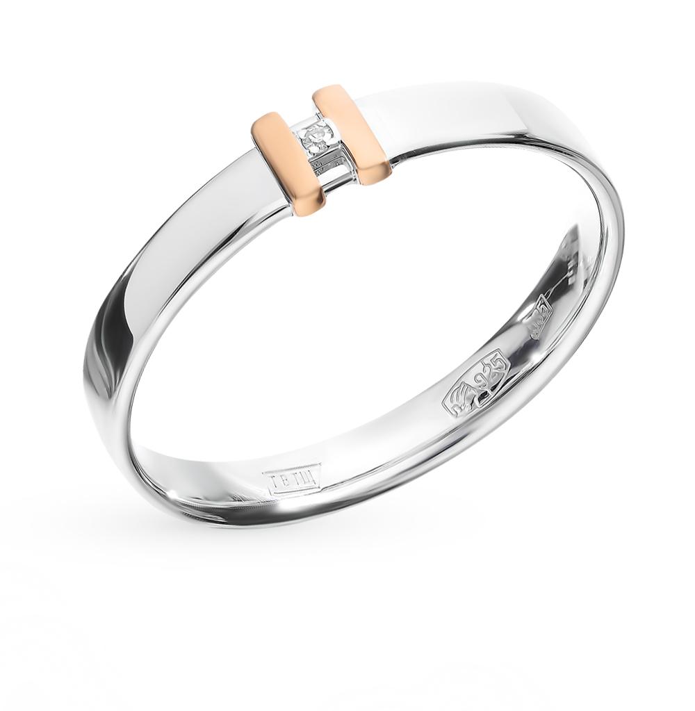 Серебряное кольцо с вставкой: золото и бриллиантами в Санкт-Петербурге