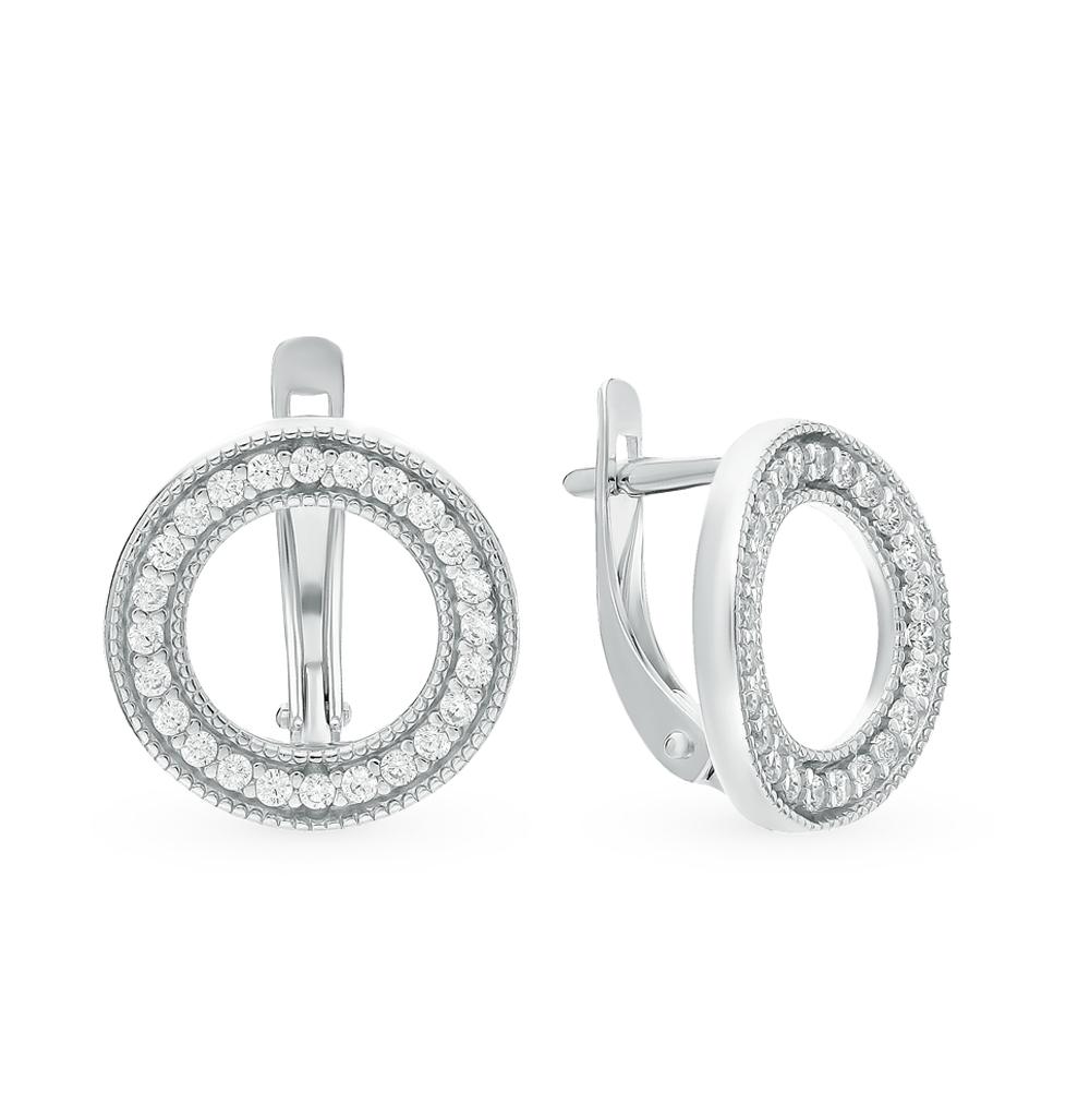 серебряные серьги с фианитами SOKOLOV 94021420