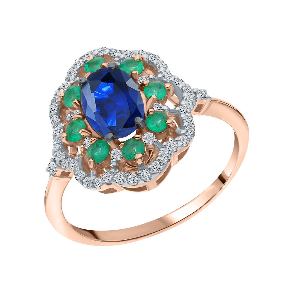 Фото «Золотое кольцо с сапфиром, изумрудами и бриллиантами»