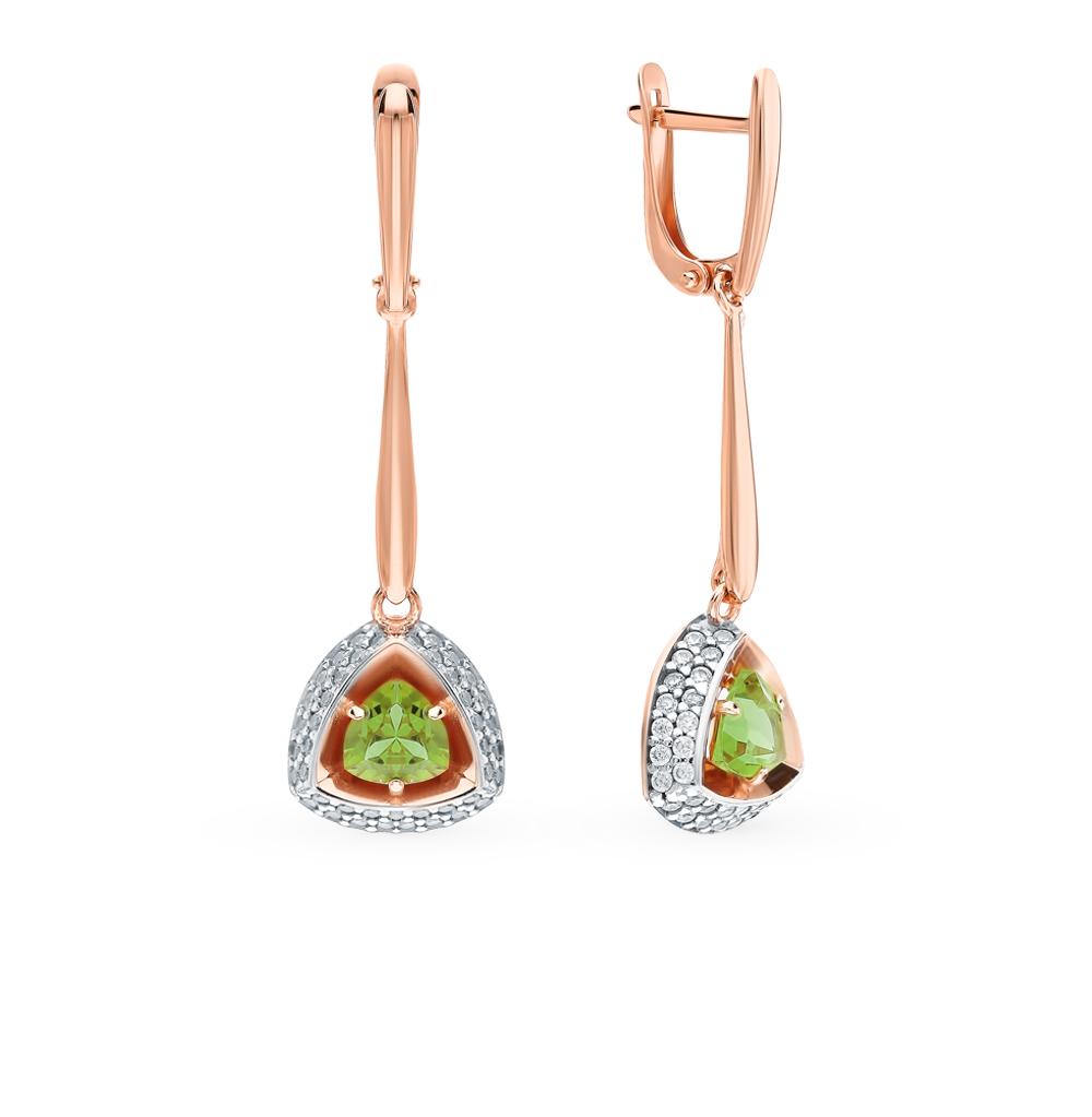 Фото «Серебряные серьги с султанитами и фианитами»