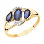 золотое кольцо с корундом и фианитами SOKOLOV 715512
