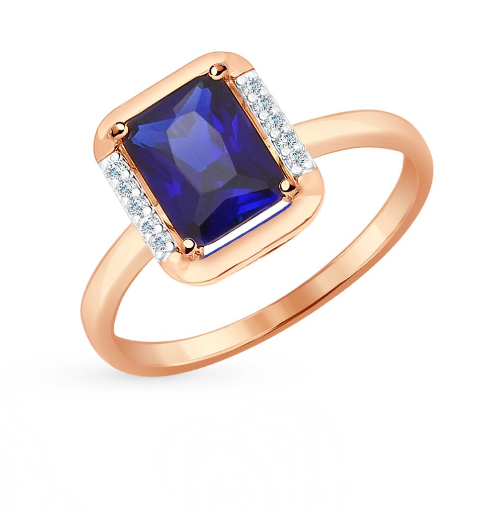 золотое кольцо с фианитами и корундами синтетическими SOKOLOV 714318*