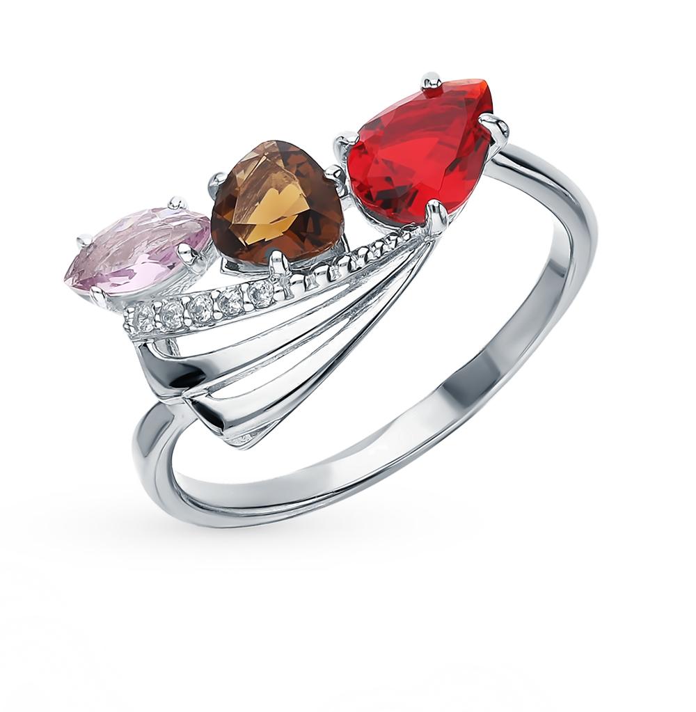 Фото «Серебряное кольцо с раухтопазами, аметистом, фианитами и гранатом»