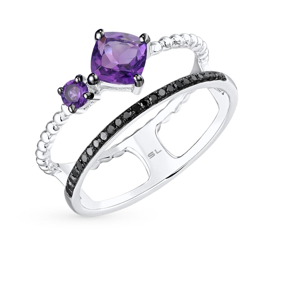 Фото «золотое кольцо с чёрными бриллиантами и аметистом»