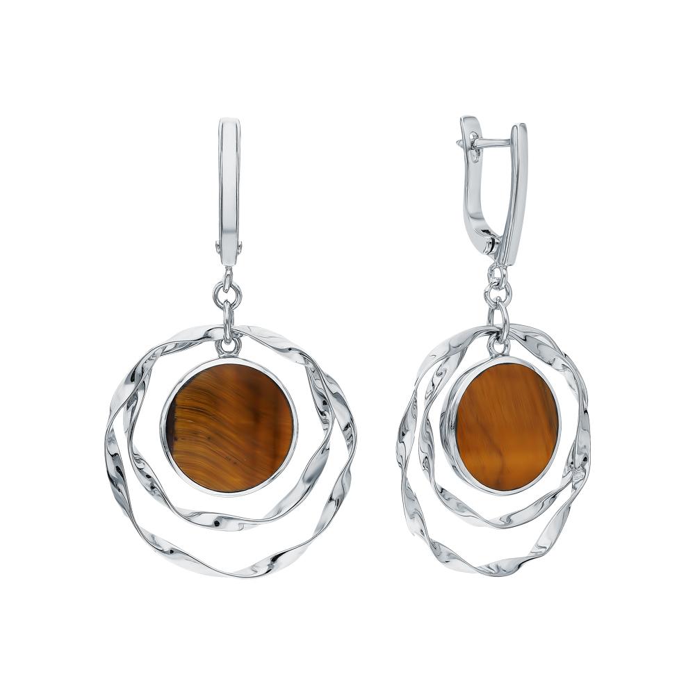 Фото «Серебряные серьги с тигровым глазом S41044-C9W-01»