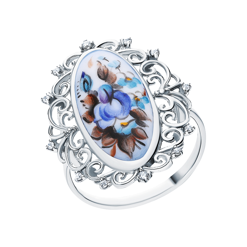 Серебряное кольцо с финифтью и кубическими циркониями в Санкт-Петербурге