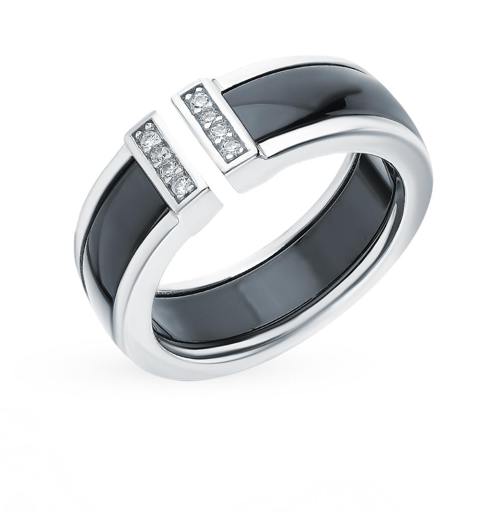 Серебряное кольцо с керамикой и фианитами в Екатеринбурге