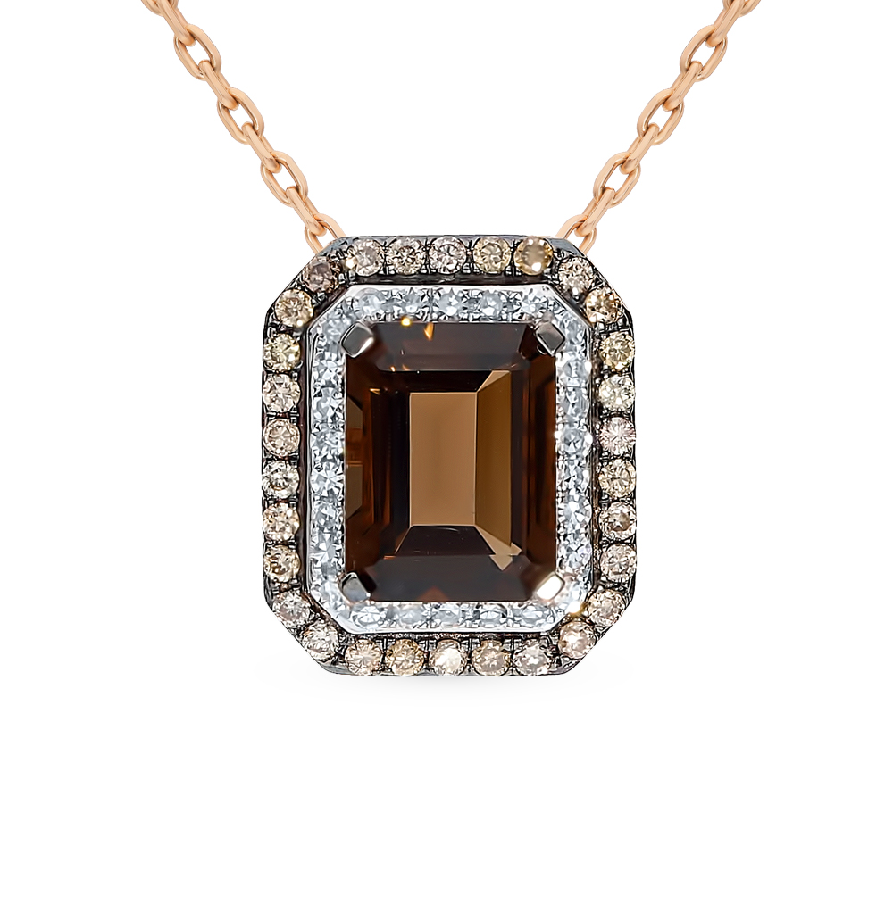 золотая подвеска с кварцем и бриллиантами