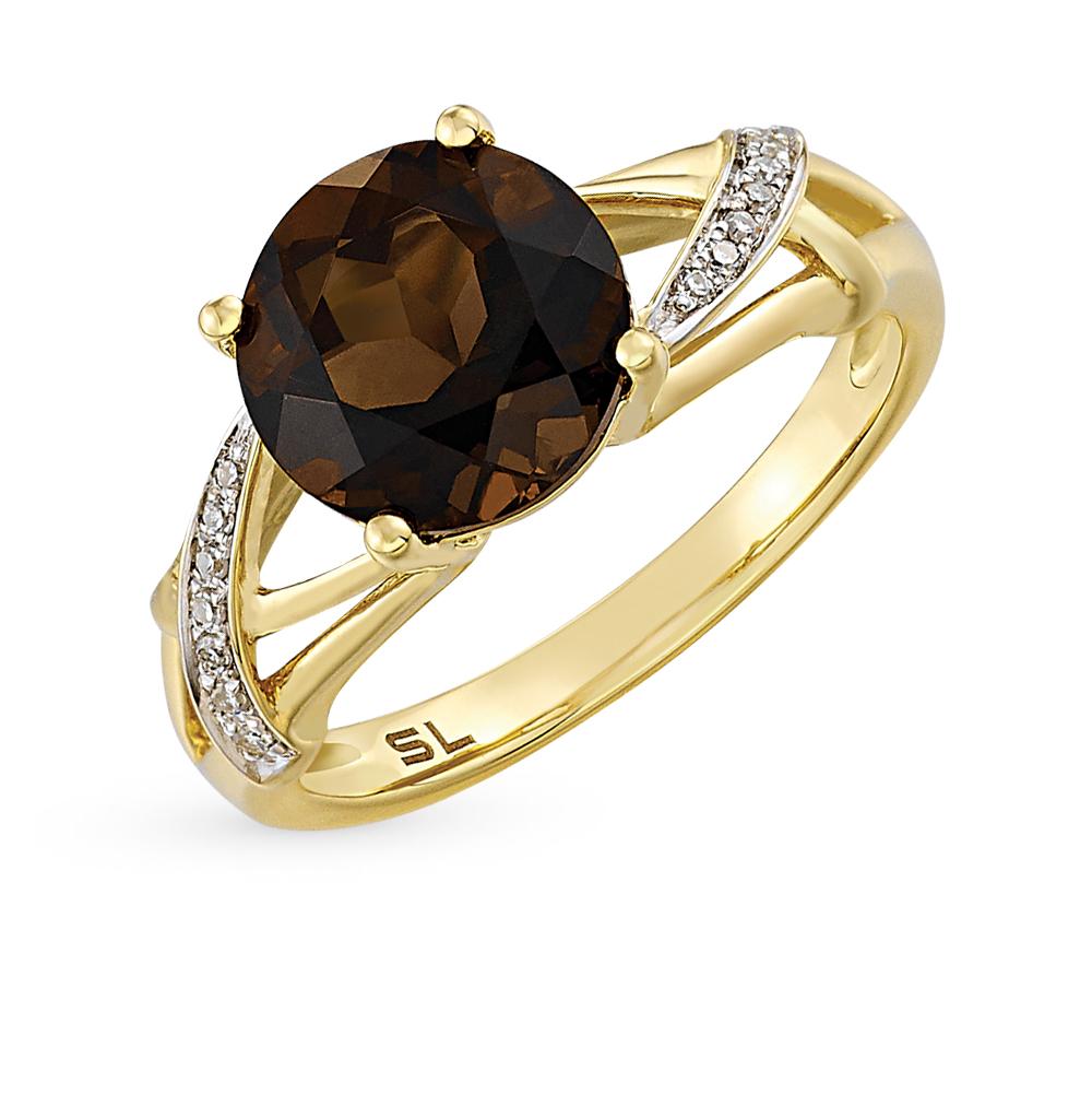 Золотое кольцо с раухтопазами и бриллиантами в Екатеринбурге