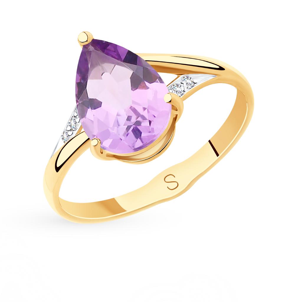 Фото «Золотое кольцо с аметистом и фианитами SOKOLOV 715576*»