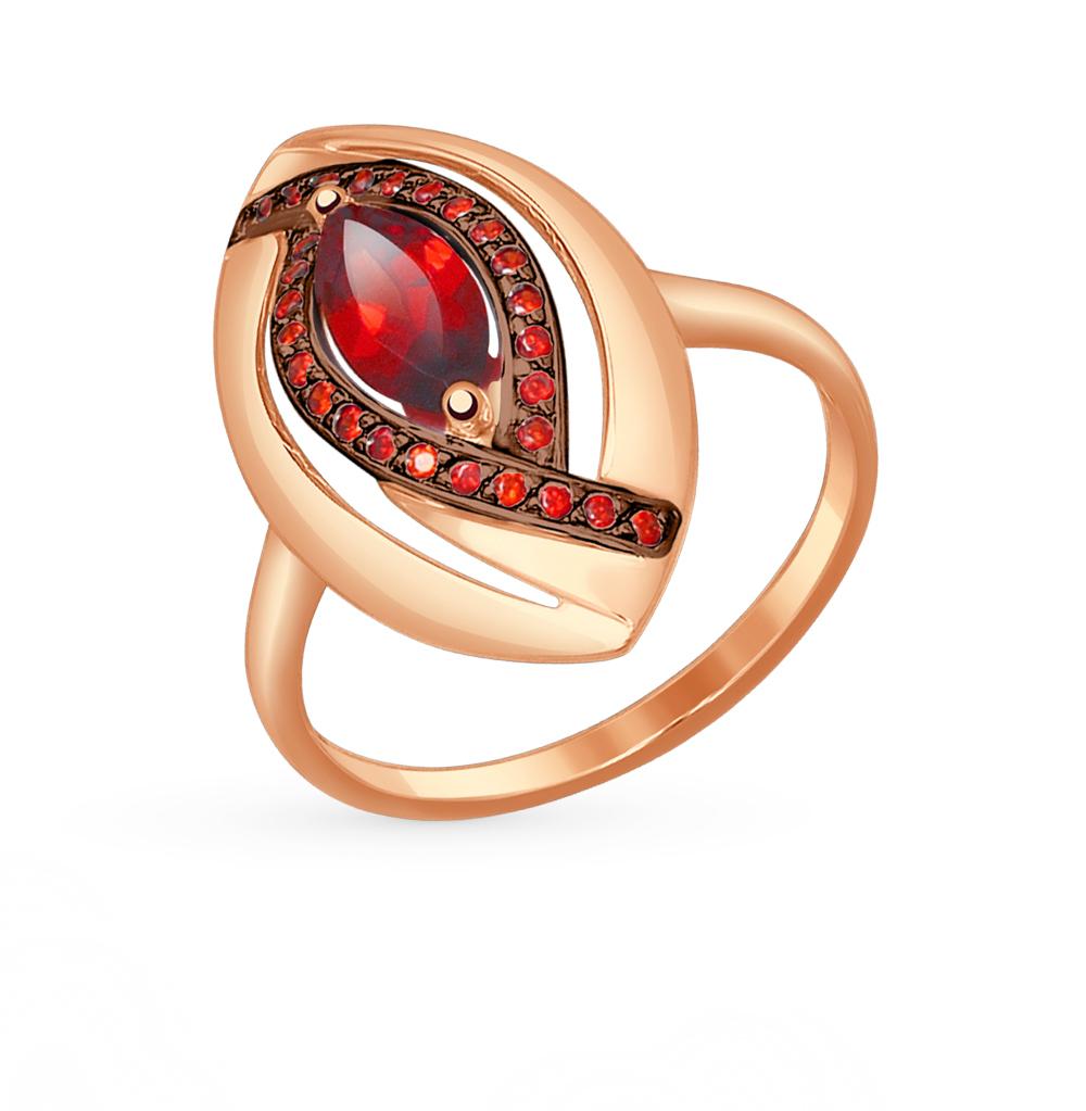 золотое кольцо с фианитами и гранатом SOKOLOV 714526*