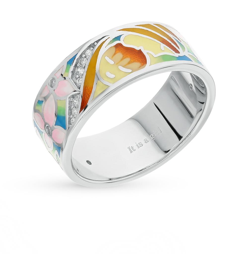 Фото «серебряное кольцо с фианитами, эмалью и витражными эмалями»