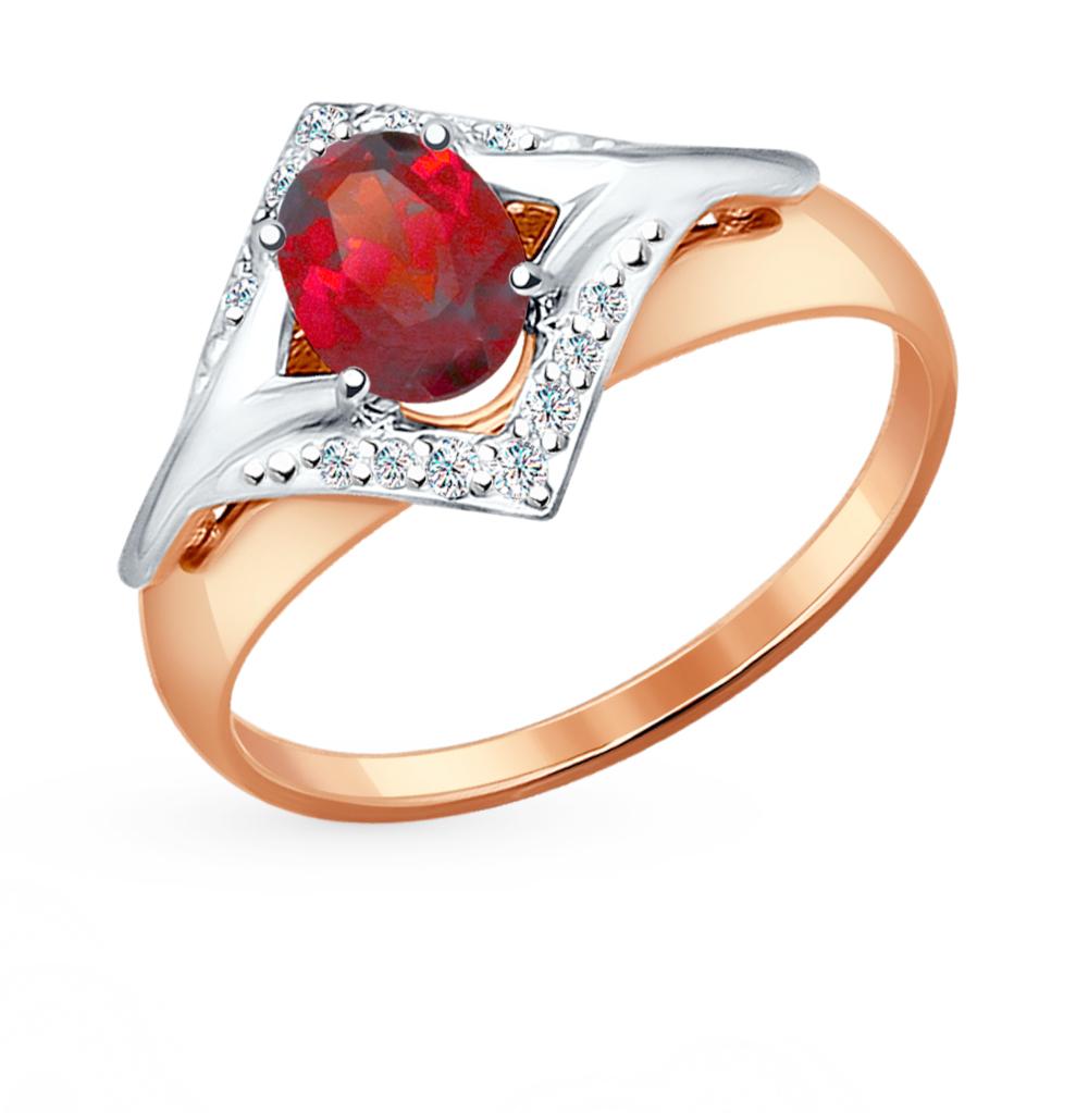 золотое кольцо с фианитами и гранатом SOKOLOV 714465*