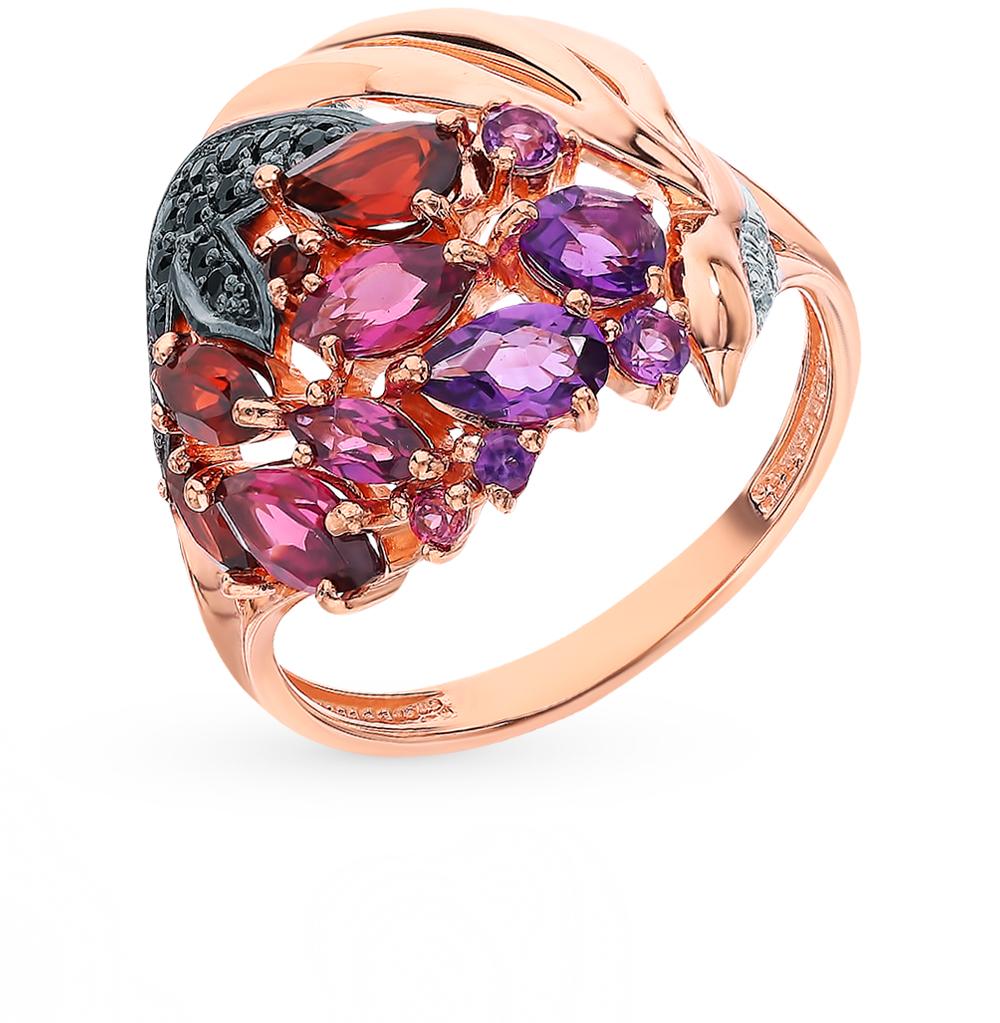 Фото «Золотое кольцо с родолитами, аметистом, фианитами и гранатом»
