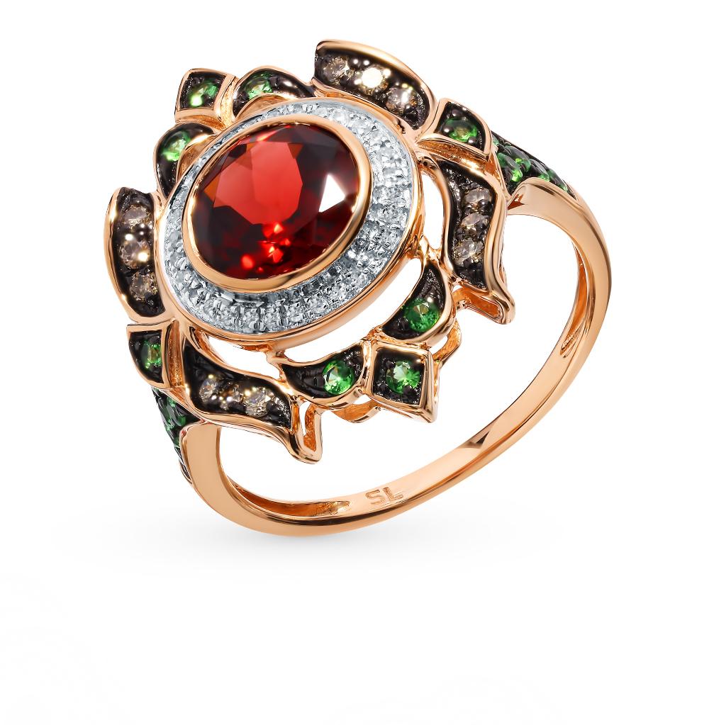 Золотое кольцо с коньячными бриллиантами, цаворитами и гранатом
