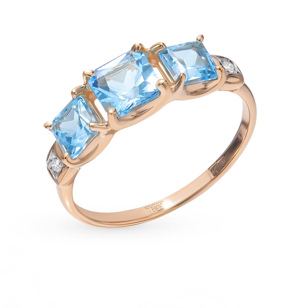 Фото «Золотое кольцо с топазами и фианитами SOKOLOV 715024*»