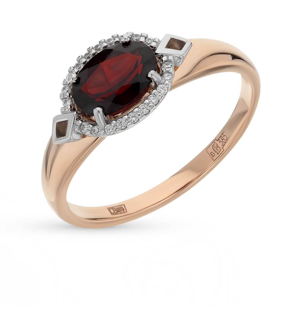 Золотое кольцо с фианитами и гранатом SOKOLOV 714070* в Екатеринбурге