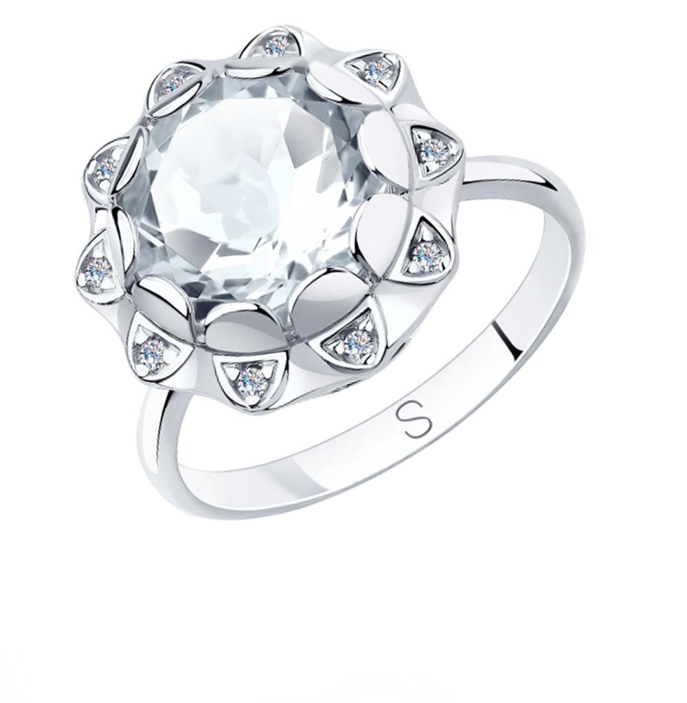 серебряное кольцо с горным хрусталем и фианитами SOKOLOV 92011849