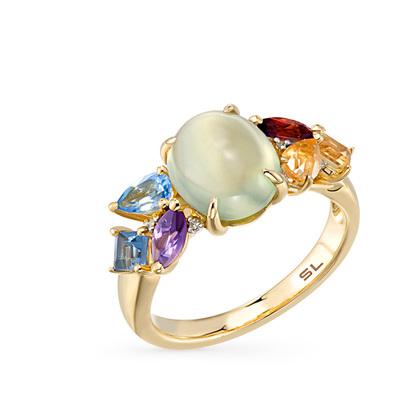Фото «золотое кольцо с пренитами, аметистом, гранатом, цитринами, топазами и бриллиантами»