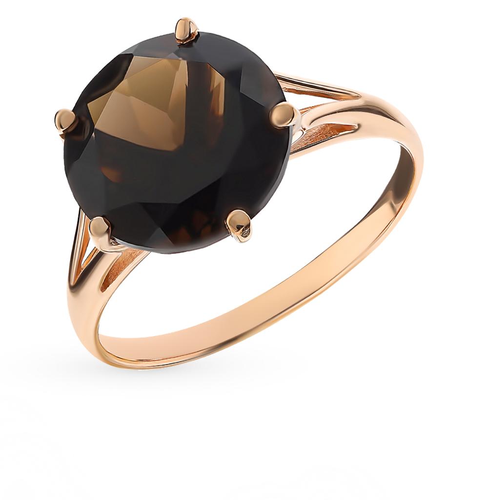 золотое кольцо с раухтопазами (кварцами дымчатый)