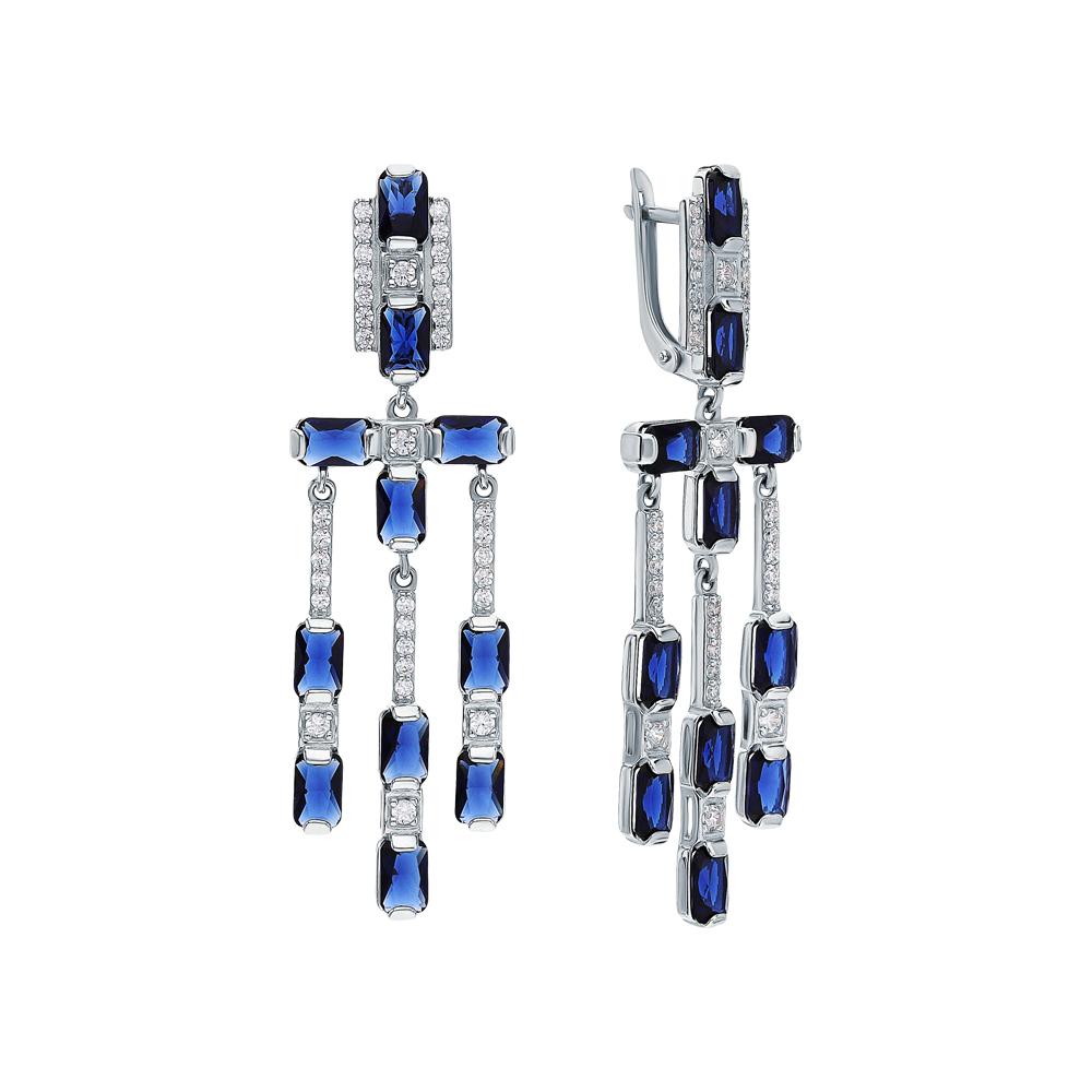 Фото «Серебряные серьги с фианитами и сапфирами синтетическими»