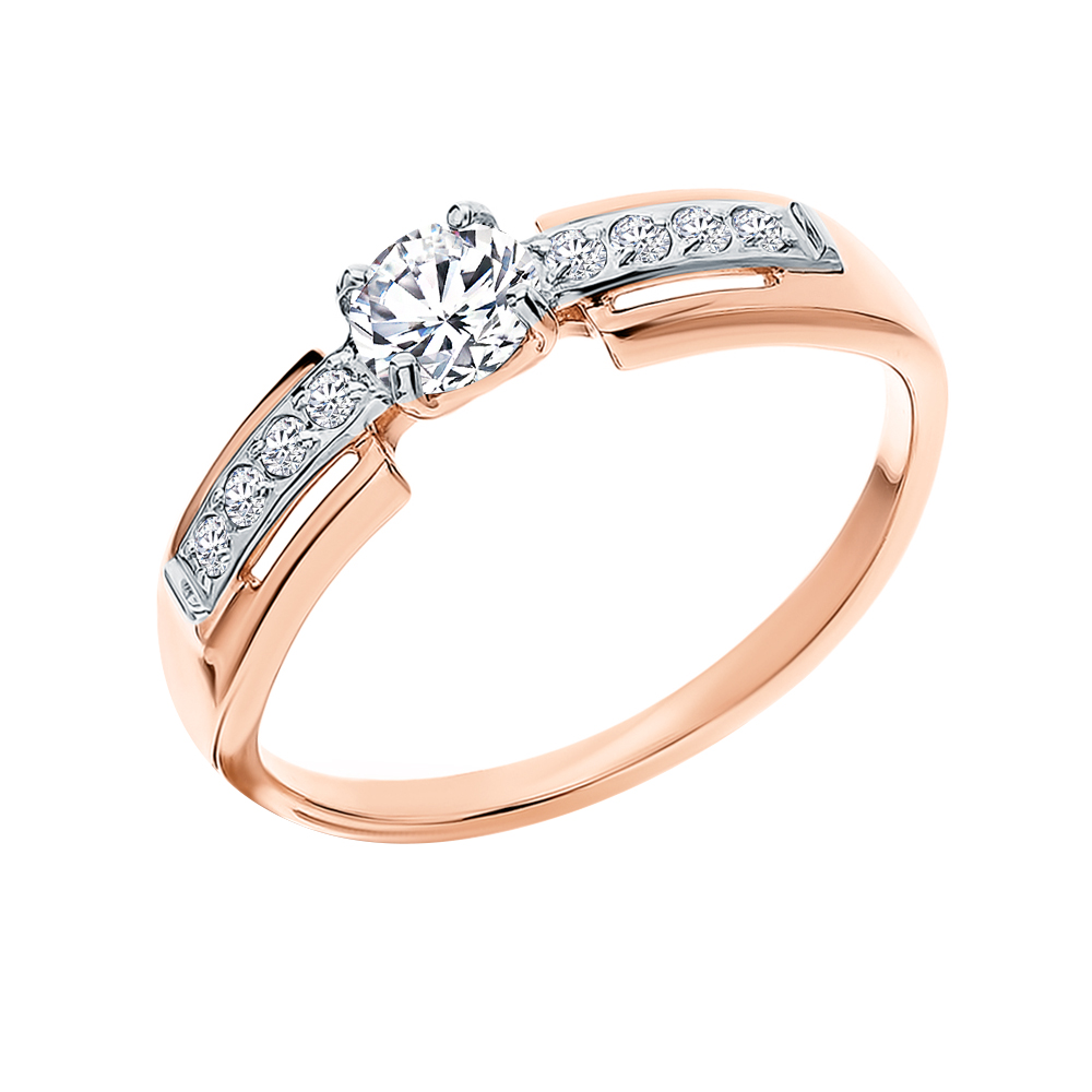 Фото «Золотое кольцо с фианитами SOKOLOV 018458*»