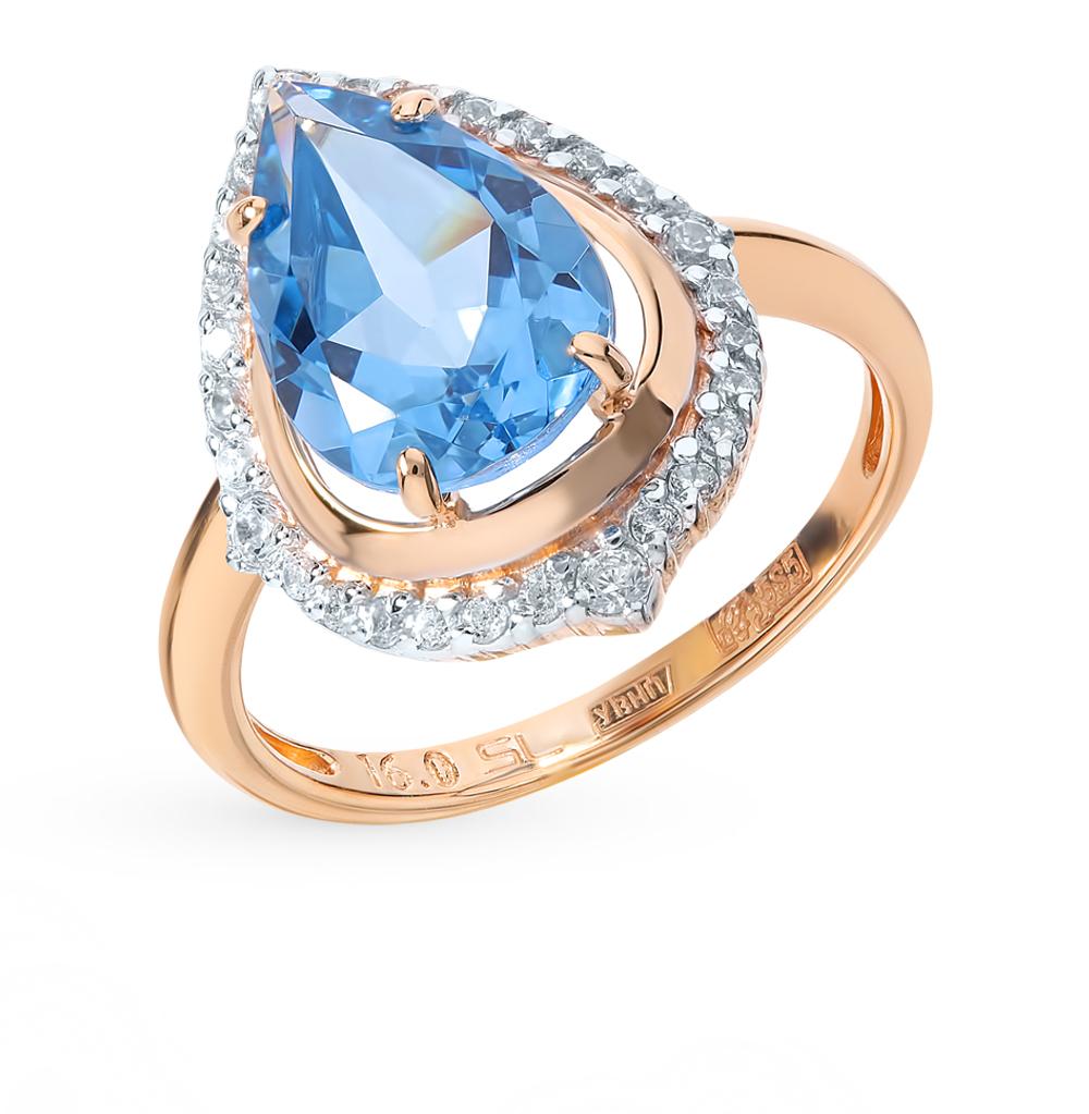 золотое кольцо со шпинелью и фианитами