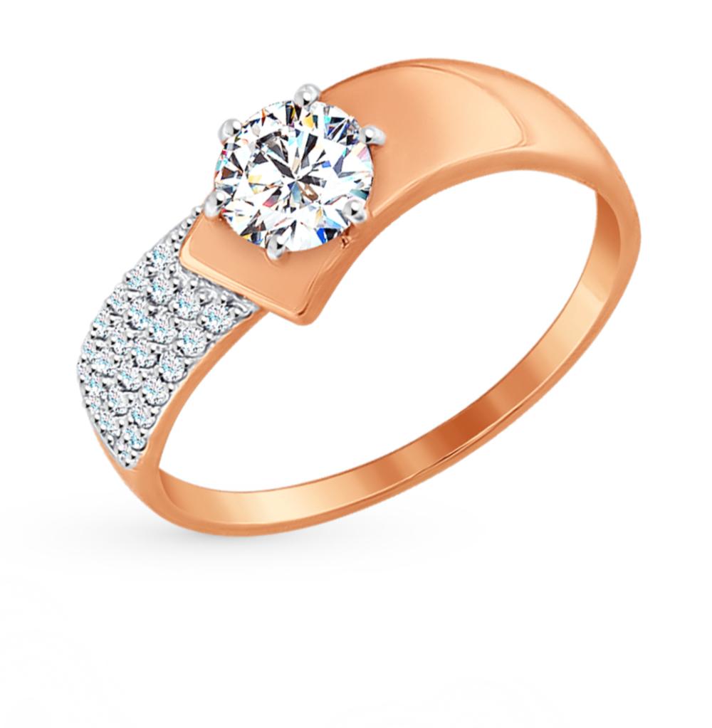 золотое кольцо с фианитами SOKOLOV 017402*