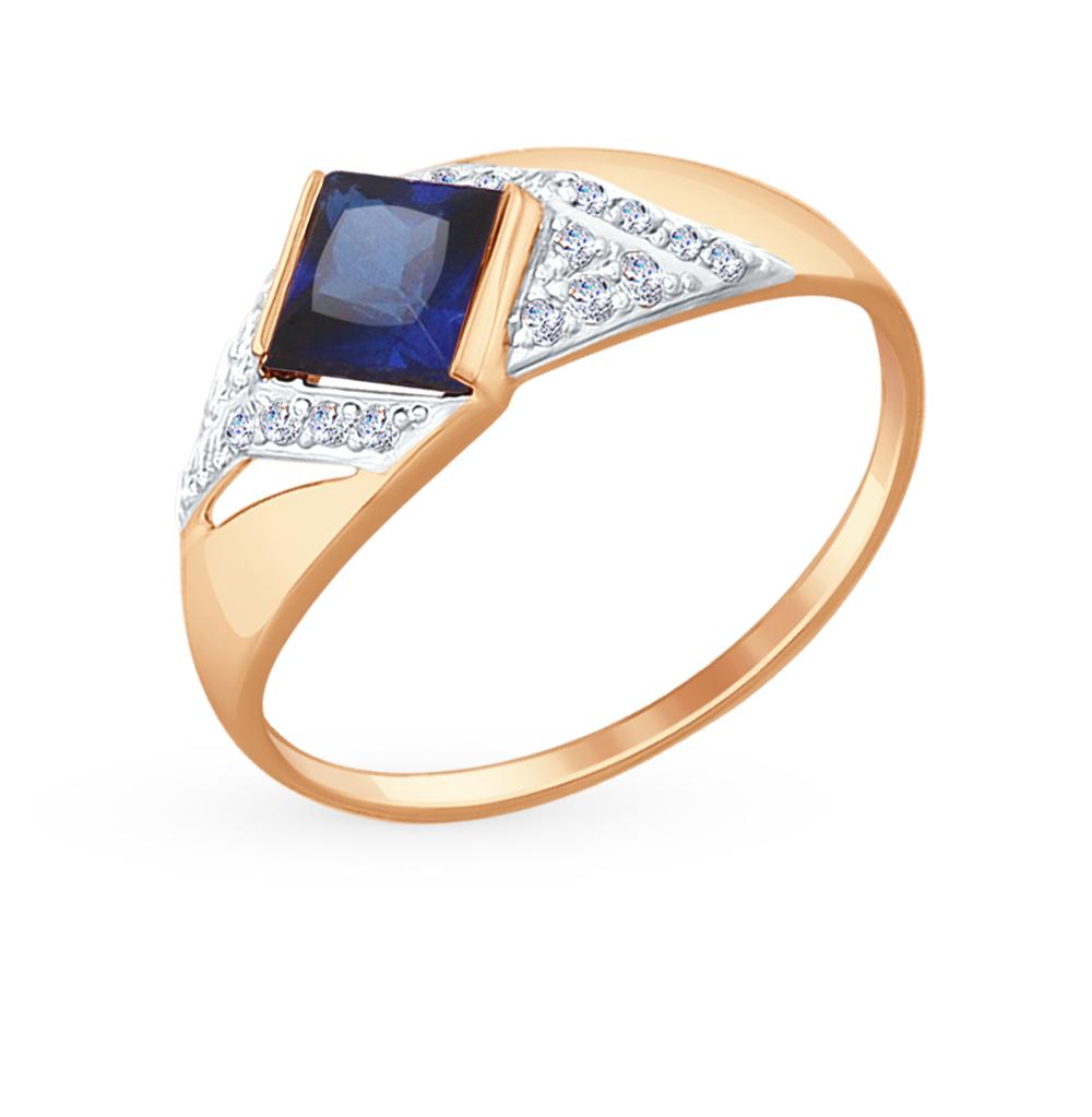 Золотое кольцо с сапфирами, корундом и фианитами SOKOLOV 714698* в Санкт-Петербурге