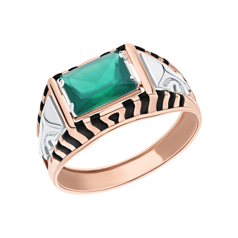 Фото «Золотое кольцо с ониксом и эмалью»
