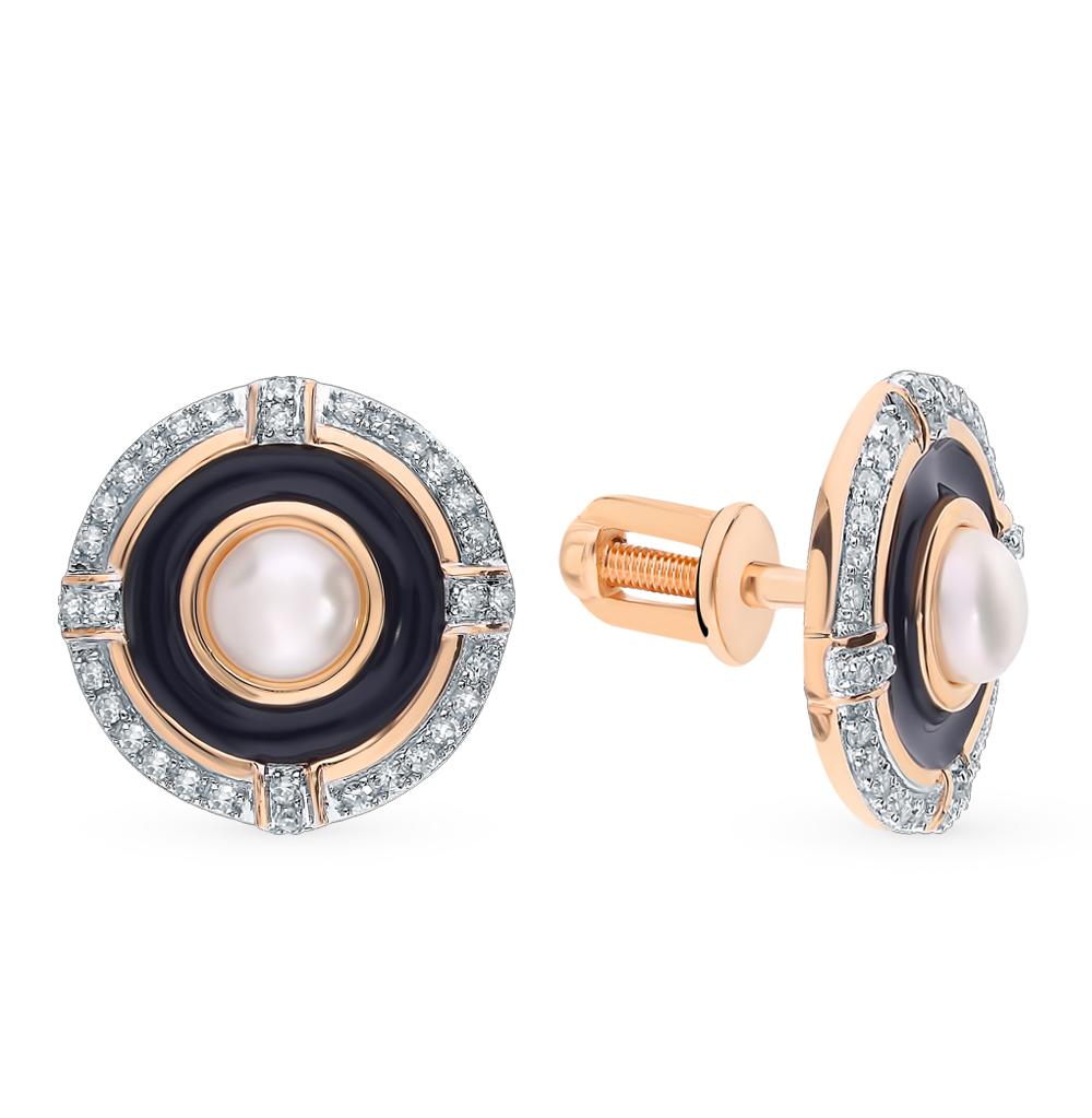 Золотые серьги с жемчугом, эмалью и бриллиантами в Екатеринбурге