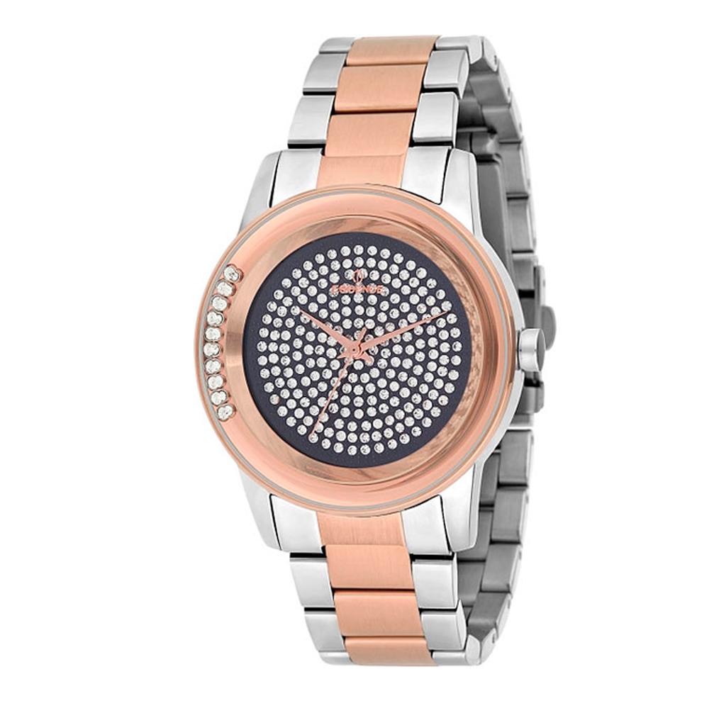 Женские часы ES6385FE.570 на стальном браслете с частичным розовым PVD покрытием с минеральным стеклом