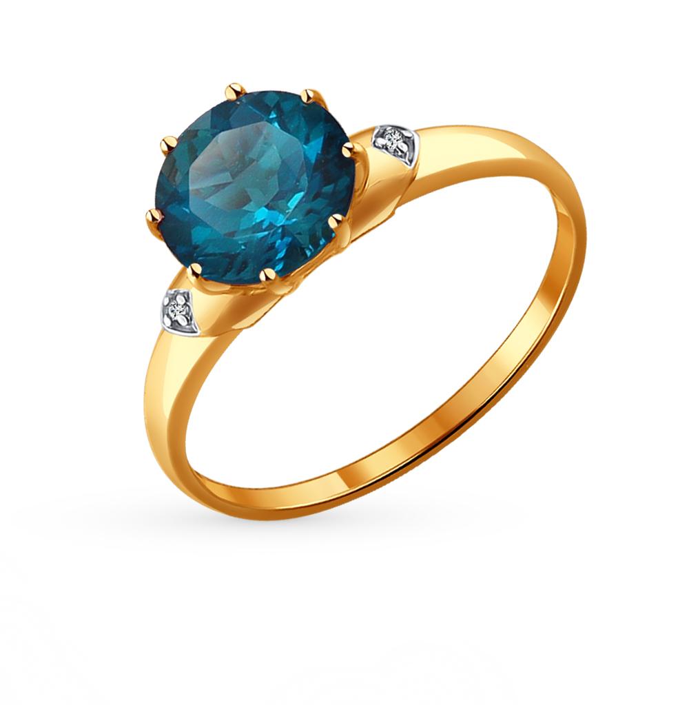 золотое кольцо с топазами и фианитами SOKOLOV 714004*