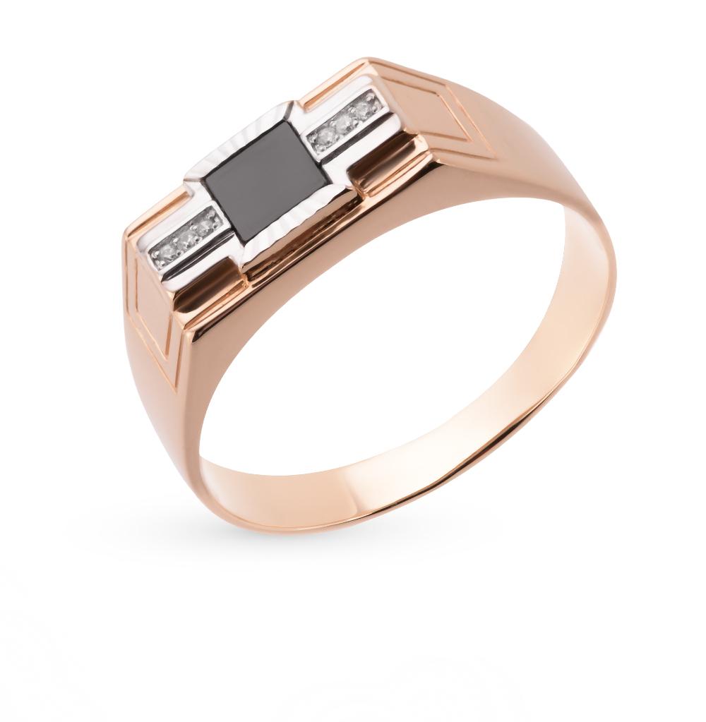 Фото «золотое кольцо с фианитами и ониксом»