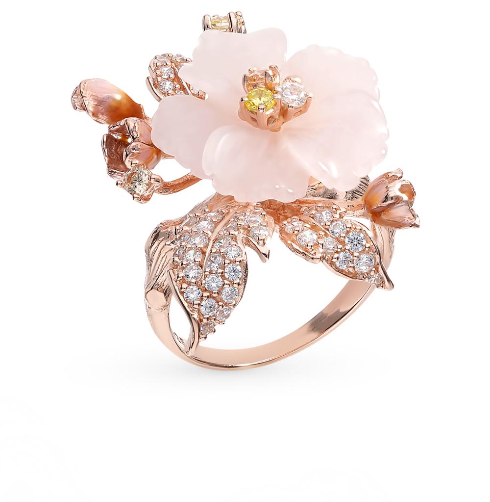 серебряное кольцо с кварцем, фианитами и эмалью