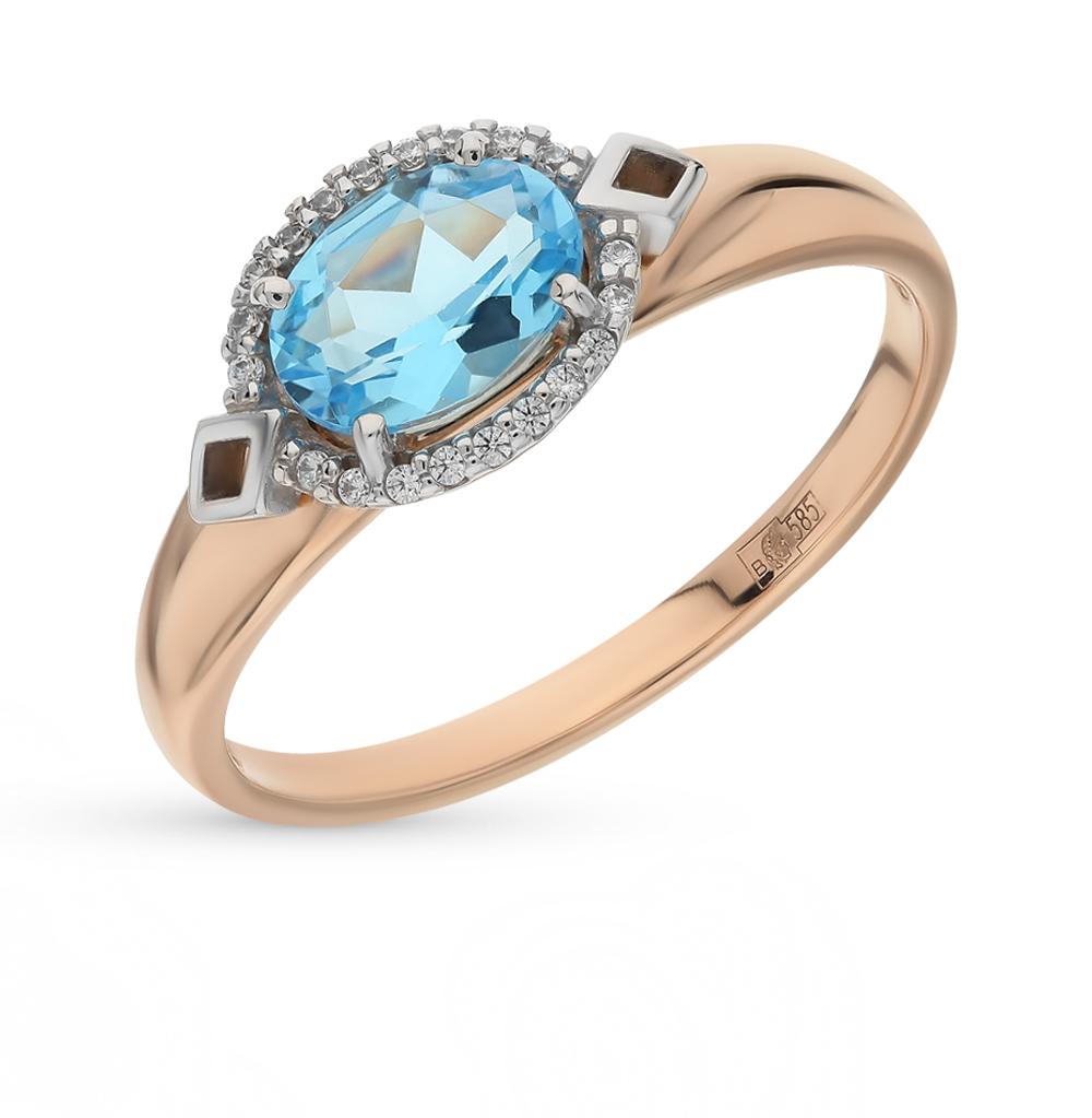 золотое кольцо с топазами и фианитами SOKOLOV 714068*