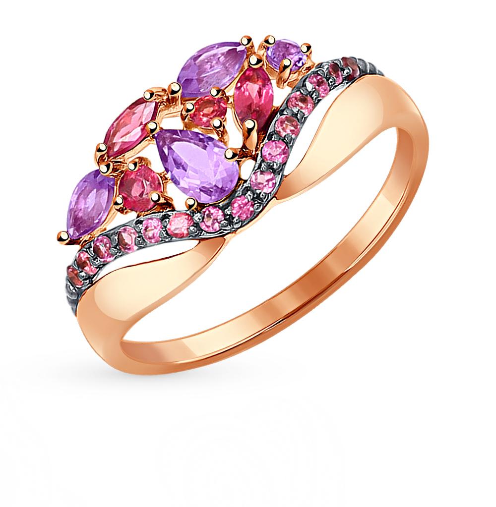 Фото «Золотое кольцо с родолитами и аметистом SOKOLOV 714312*»