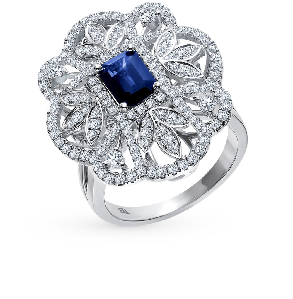 Золотое кольцо-подвеска с сапфиром и бриллиантами в Екатеринбурге