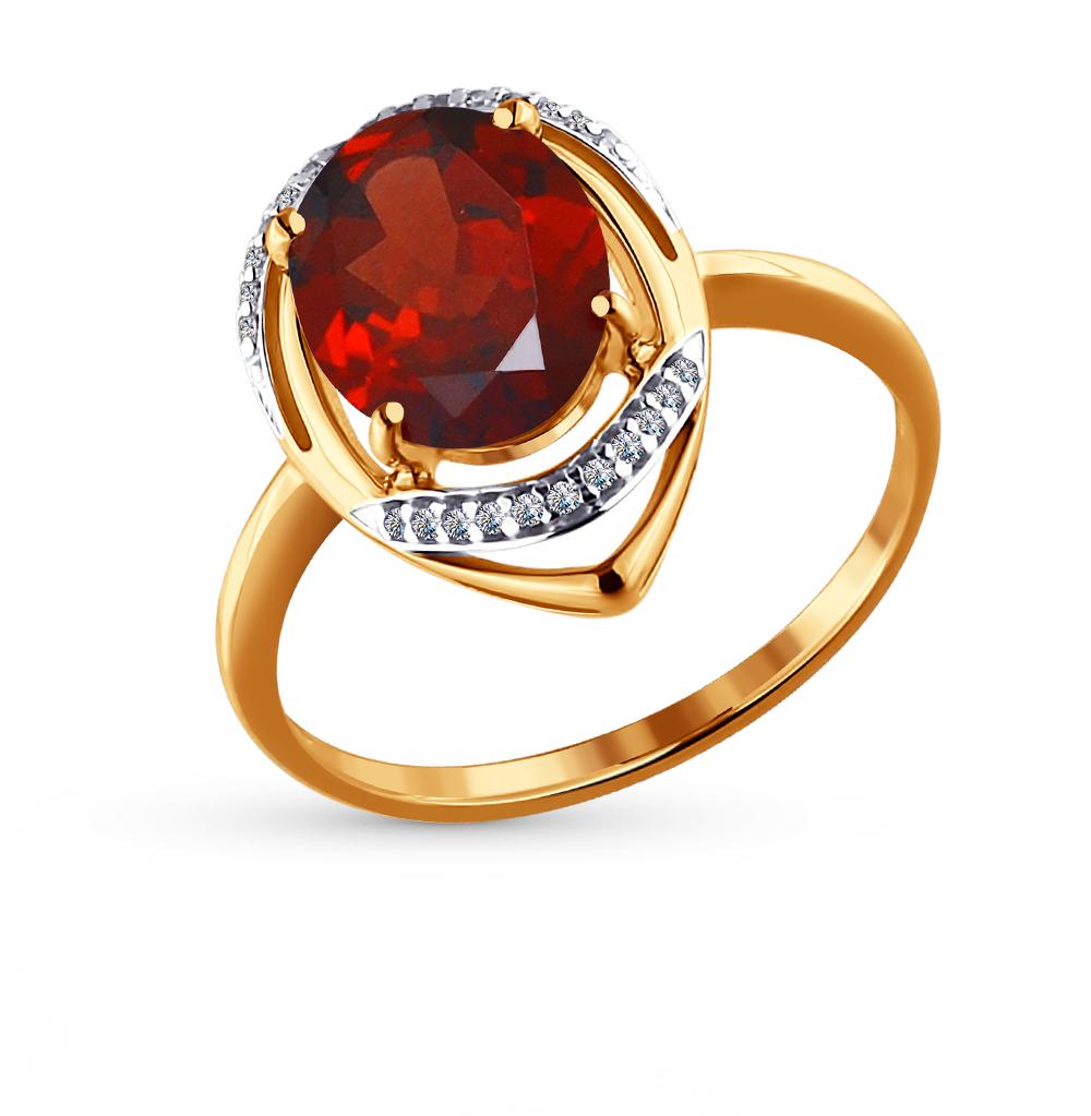 золотое кольцо с фианитами и гранатом SOKOLOV 713966*
