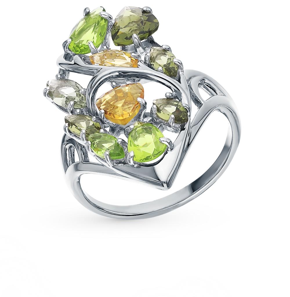 Фото «Серебряное кольцо с турмалинами, хризолитом и цитринами»