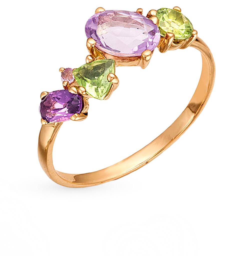 Золотое кольцо с хризолитом и аметистом в Екатеринбурге