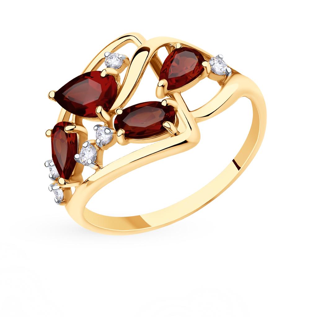 золотое кольцо с фианитами и гранатом SOKOLOV 715594*