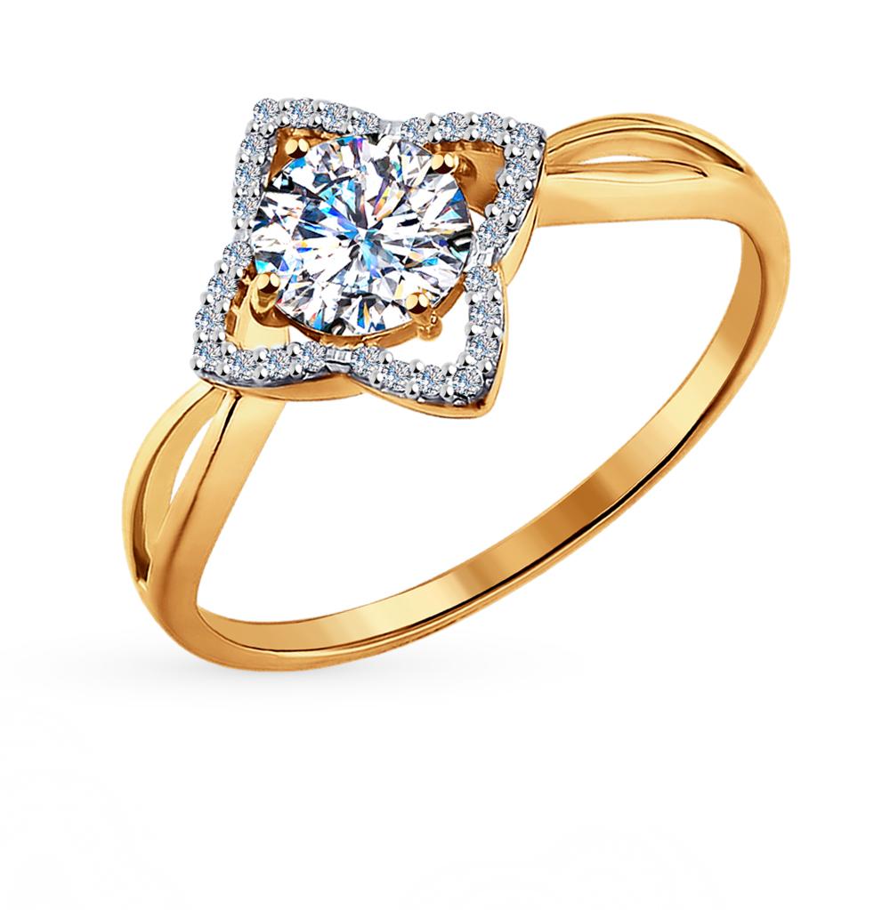 золотое кольцо с фианитами и кристаллами swarovski SOKOLOV 81010095*