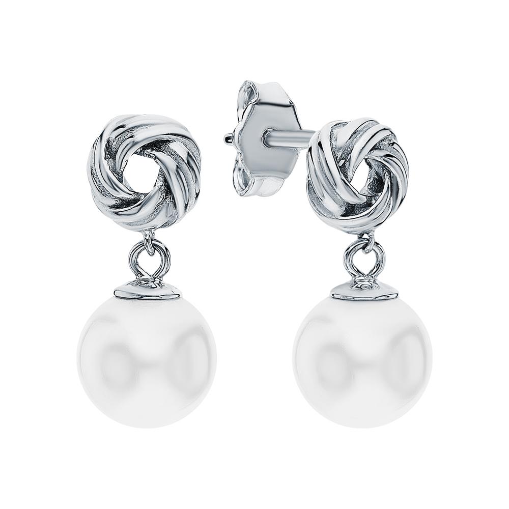 Фото «Серебряные серьги с жемчугами искусственными»