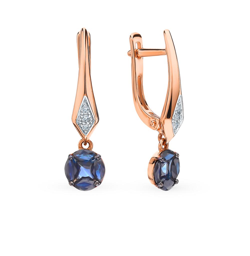 Золотые серьги с сапфирами и бриллиантами в Санкт-Петербурге