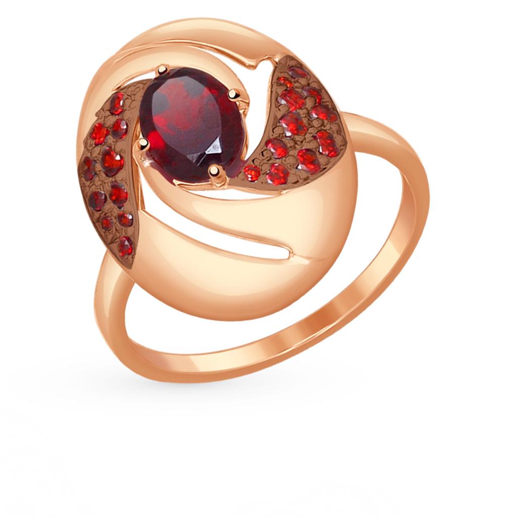 золотое кольцо с фианитами и гранатом SOKOLOV 714531*