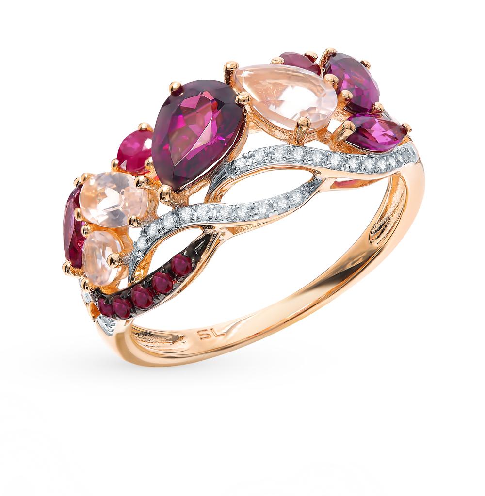 золотое кольцо с рубинами, гранатом и бриллиантами