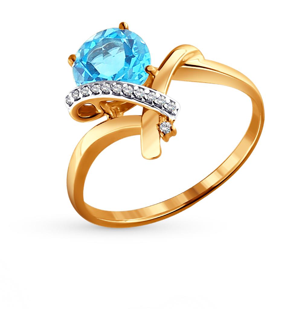 золотое кольцо с топазами и фианитами SOKOLOV 713912*