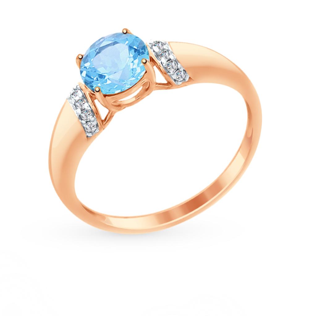золотое кольцо с топазами и фианитами SOKOLOV 714958*