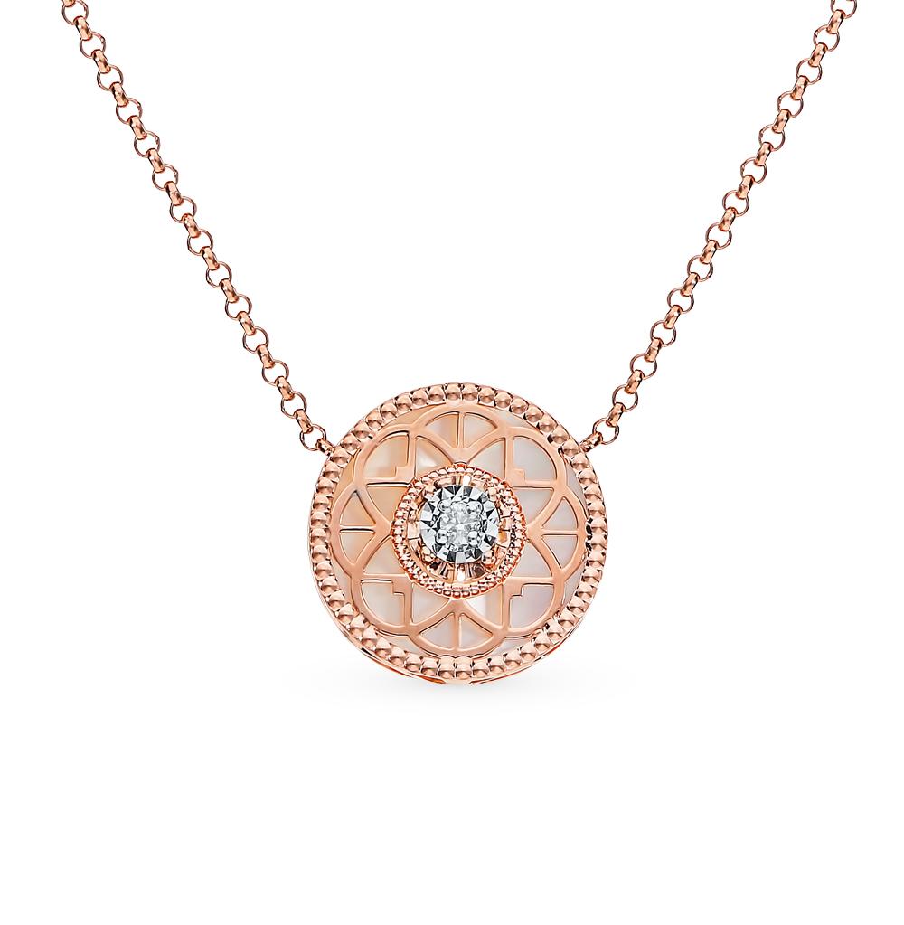 Фото «Золотое шейное украшение с перламутром и бриллиантами»